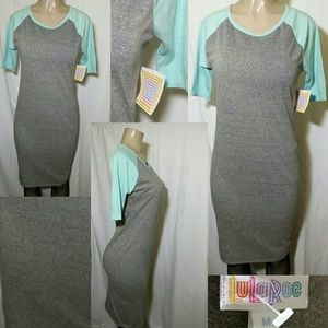 LulaRoe Julia Dress-Gray/Turquoise (M)